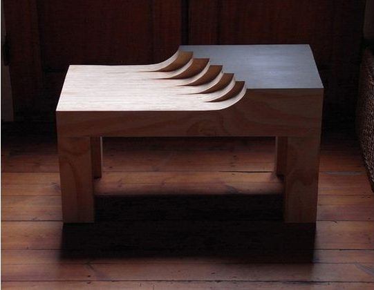 Wave table, 2010. Laminated plywood and paint. Sculptural coffee table