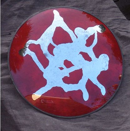 Rorschach convex 2014 Convex glass, mirror and oil paint with lead frame. 590mm diameter